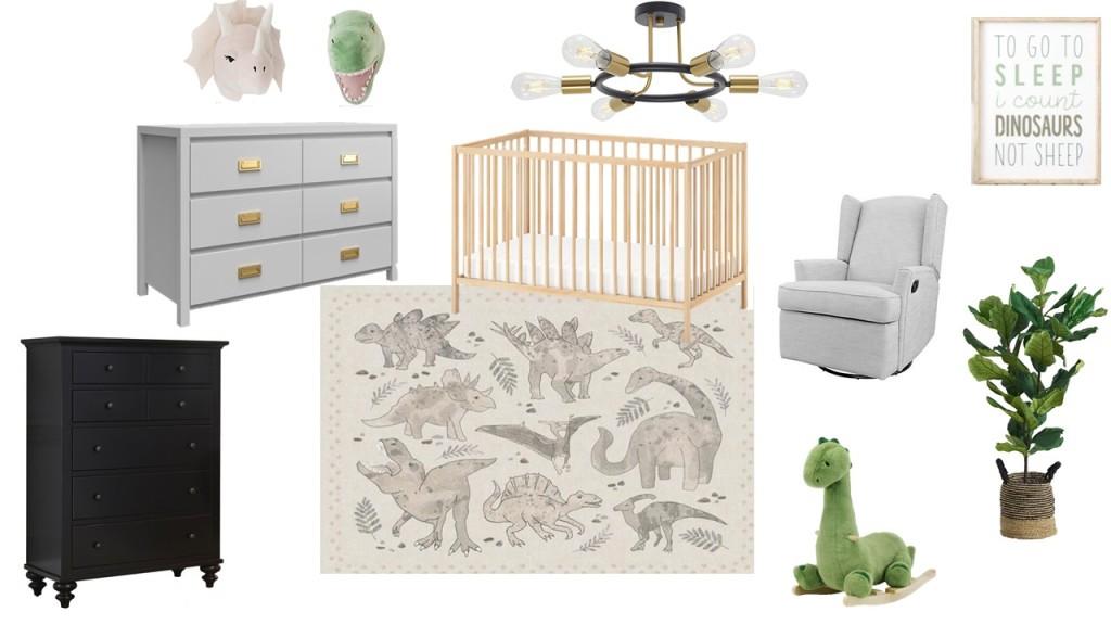 Dino themed nursery design plan featuring modern furniture & muted tones