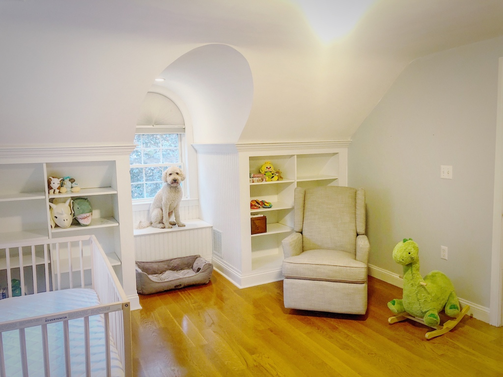 Reading nook after with crib & rocker complete & even a bed for Baxter